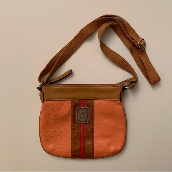 US Polo Assn Orange vegan leather crossbody bag